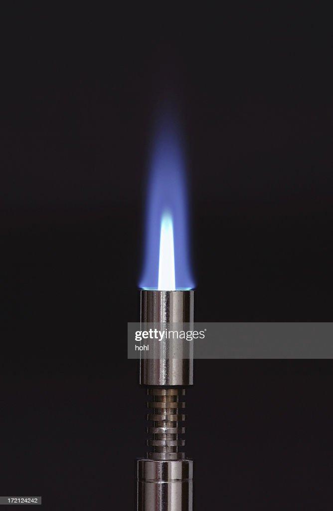 burning blue flame