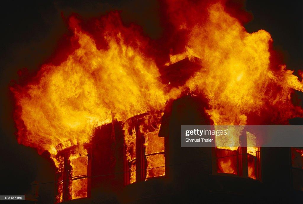 Burning building : Stock Photo