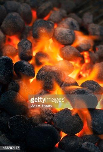 Burning charcoal, close-up