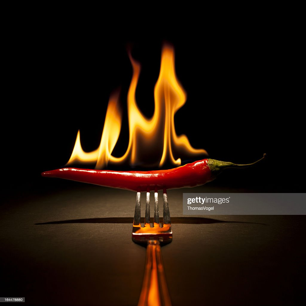 Burning Chili Pepper - Fire Flame Fork Hot Red