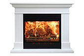 Burning classic fireplace of white marble. Isolated on white.