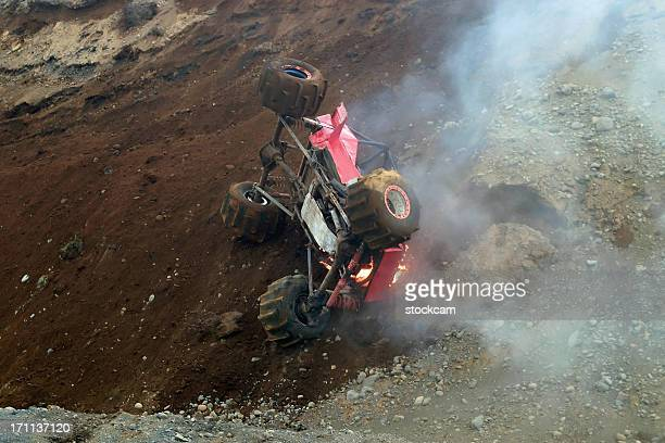 Burning formula Offroad rally car, Iceland