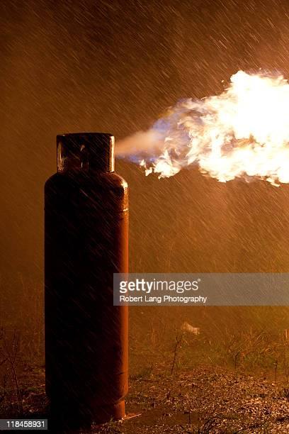 Burning gas bottle