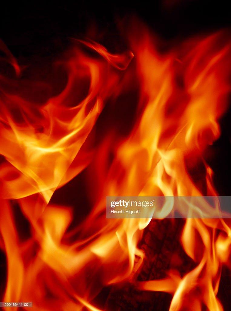 Burning logs in fireplace, full frame : Stock Photo