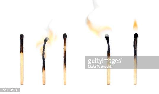 Burning matchsticks