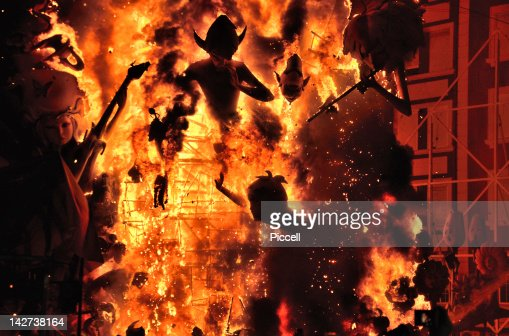 Burning of Falla street art display in Valencia