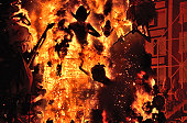 Burning of Falla street art display in Valencia