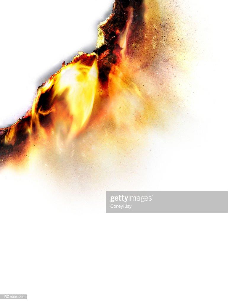 Burning paper, close-up (Digital Enhancement) : Stock Photo