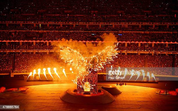 A burning 'Simmurg' rises above the stadium during the Closing Ceremony for the Baku 2015 European Games at National Stadium on June 28 2015 in Baku...