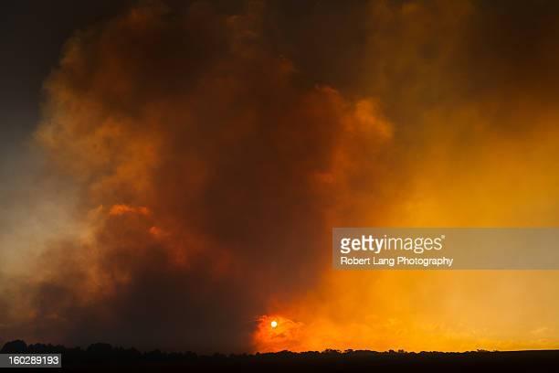 Burning skies, bushfire smoke on sunset, Australia