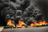 Burning tires causing toxic pollution