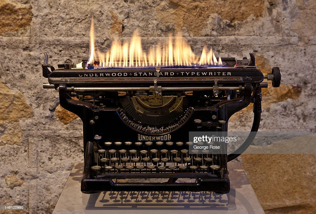 A burning Underwood typewriter entitled 'Homage' by artist Leopoldo Maler is on display at The Hess Collection Winery on May 21, 2012, in Napa, California. Though off the beaten track, The Hess Collection Winery, is home to one of Napa Valley's most important contemporary art collections.