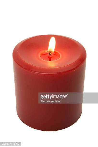 Burning votive candle, elevated view