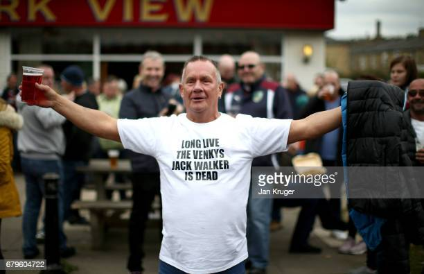 Burnley fan enjoys some pre match drinks prior to the Premier League match between Burnley and West Bromwich Albion at Turf Moor on May 6 2017 in...