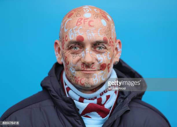 Burnley fan poses for a photograph prior to the Premier League match between Burnley and West Bromwich Albion at Turf Moor on August 19 2017 in...