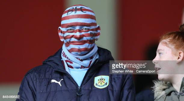 Burnley fan waits for the kickoff during the Premier League match between Burnley and Crystal Palace at Turf Moor on September 10 2017 in Burnley...