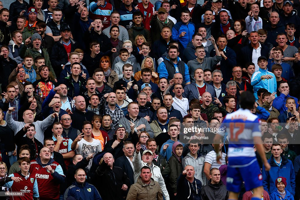 Burnley fans chant abuse towards Joey Barton of QPR during the Sky Bet Championship match between Burnley and Queens Park Rangers at Turf Moor on October 26, 2013 in Burnley, England.