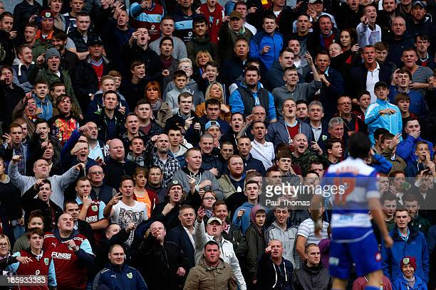 Burnley fans chant abuse towards Joey Barton of QPR during the Sky Bet Championship match between Burnley and Queens Park Rangers at Turf Moor on...