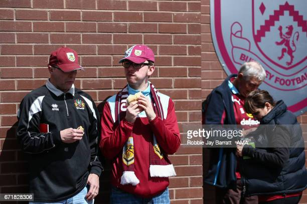 Burnley fans prior to the Premier League match between Burnley and Manchester United at Turf Moor on April 23 2017 in Burnley England
