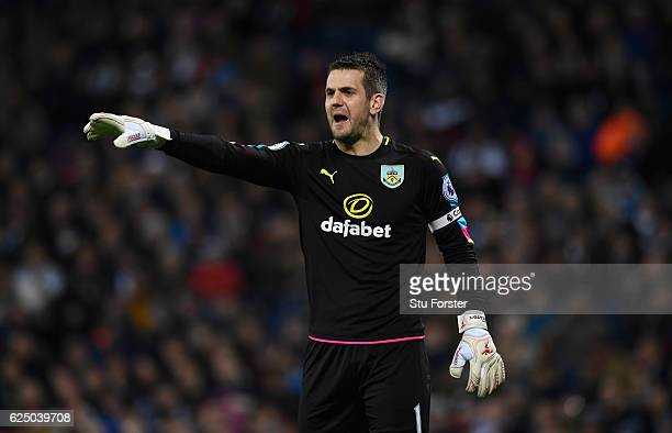 Burnley goalkeeper Tom Heaton in action during the Premier League match between West Bromwich Albion and Burnley at The Hawthorns on November 21 2016...