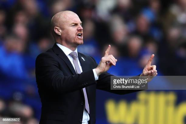 Burnley Manager / Head Coach Sean Dyche gestures during the Premier League match between Everton and Burnley at Goodison Park on April 15 2017 in...