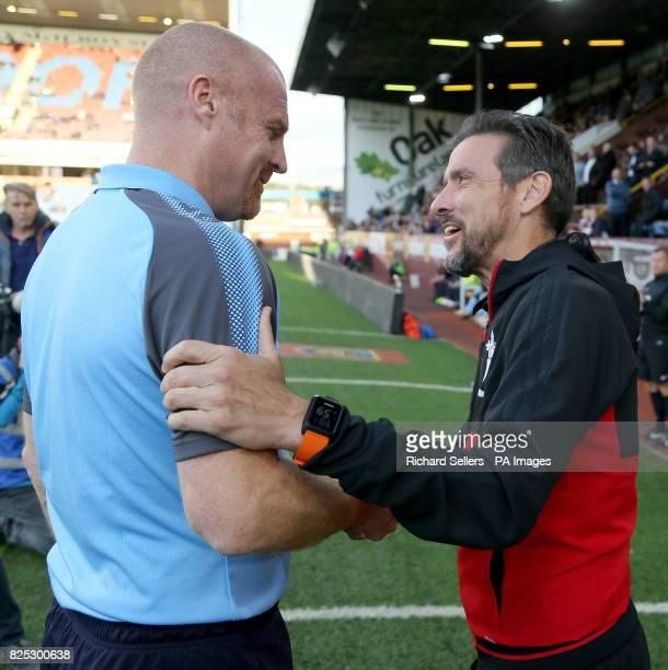 Burnley manager Sean Dyche and Celta Vigo manager Eduardo Berizzo during the preseason friendly match at Turf Moor Burnley