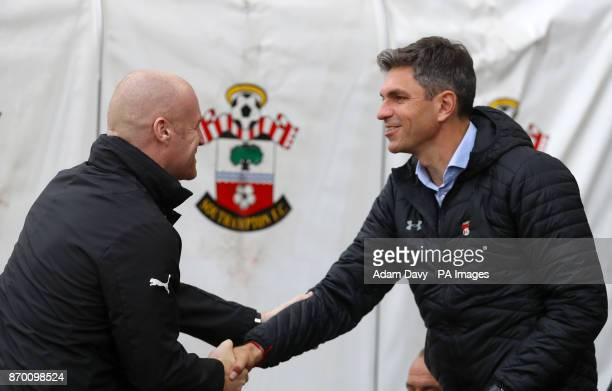 Burnley manager Sean Dyche and Southampton manager Mauricio Pellegrino shake hands ahead of the Premier League match at St Mary's Stadium Southampton