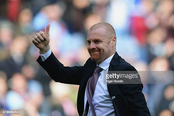 Burnley manager Sean Dyche applauds fans after the Barclays Premier League match between Burnley and Stoke City at Turf Moor on May 16 2015 in...