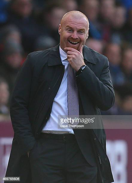 Burnley manager Sean Dyche during the Barclays Premier League match between Burnley and Arsenal at Turf Moor on April 11 2015 in Burnley England