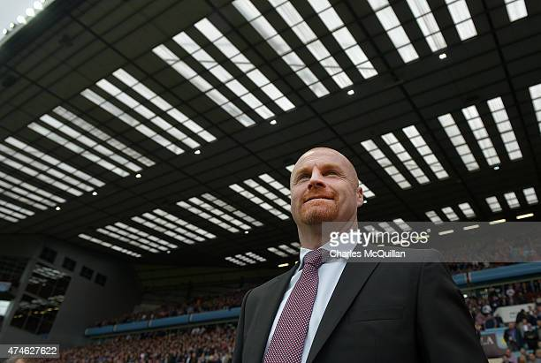 Burnley manager Sean Dyche during the Barclays Premier League match between Aston Villa and Burnley at Villa Park on May 24 2015 in Birmingham England