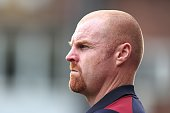 Burnley manager Sean Dyche looks on during the preseason friendly match between Bradford City and Burnley at Valley Parade on July 23 2016 in...