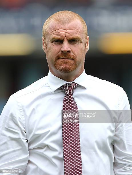 Burnley manager Sean Dyche looks on during the Sky Bet Championship match between Burnley and Brentford at Turf Moor on August 22 2015 in Burnley...
