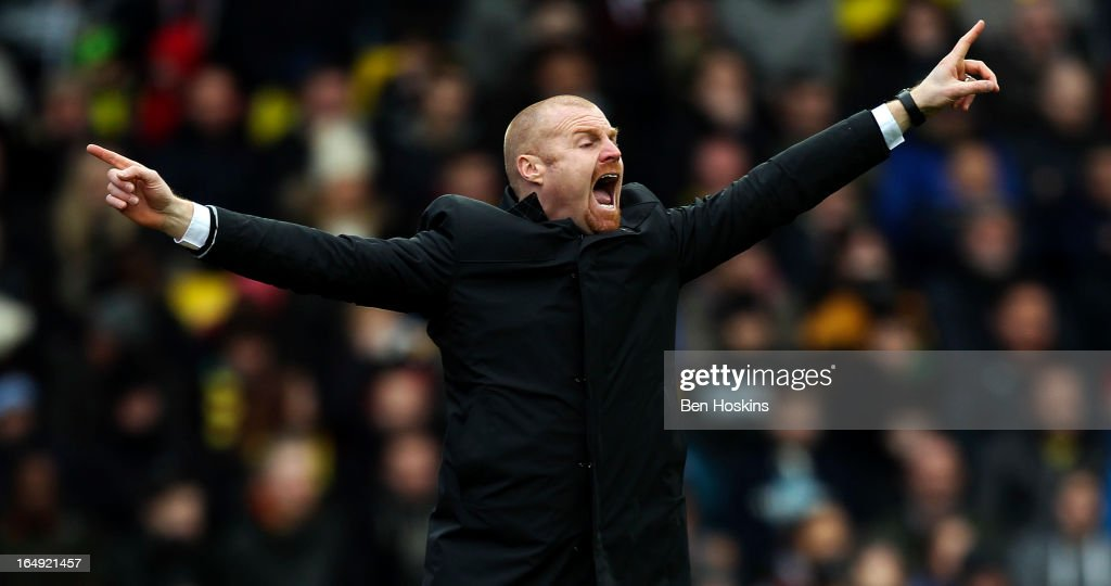 Burnley manager <a gi-track='captionPersonalityLinkClicked' href=/galleries/search?phrase=Sean+Dyche&family=editorial&specificpeople=886017 ng-click='$event.stopPropagation()'>Sean Dyche</a> shouts instructions during the npower Championship match between Watford and Burnley at Vicarage Road on March 29, 2013 in Watford, England.