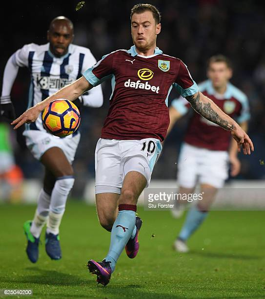 Burnley player Ashley Barnes in action during the Premier League match between West Bromwich Albion and Burnley at The Hawthorns on November 21 2016...