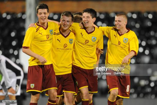 Burnley's Adam Evans Luke Gallagher Luke Conlan and Steven Hewitt celebrate victory
