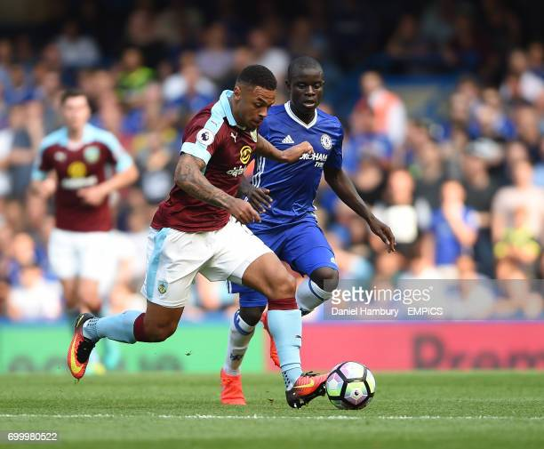 Burnley's Andre Gray and Chelsea's NGolo Kante battle