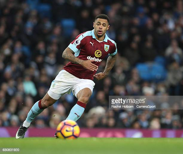 Burnley's Andre Gray during the Premier League match between Manchester City and Burnley at Etihad Stadium on January 2 2017 in Manchester England