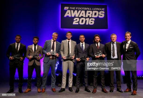 Burnley's Andre Gray Swindon Town's Nicky Ajose award presenter Football Manager Head of Strategic Business Development Tom Markham Northampton Town...