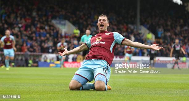 Burnley's Chris Wood celebrates scoring his side's first goal during the Premier League match between Burnley and Crystal Palace at Turf Moor on...