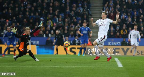 Burnley's Chris Wood fails to beat Leicester City's goalkeeper Kasper Schmeichel during the Premier League match between Leicester City and Burnley...