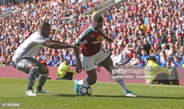 Burnley's Daniel Agyei battles with Manchester United's Eric Bailly during the Premier League match between Burnley and Manchester United at Turf...
