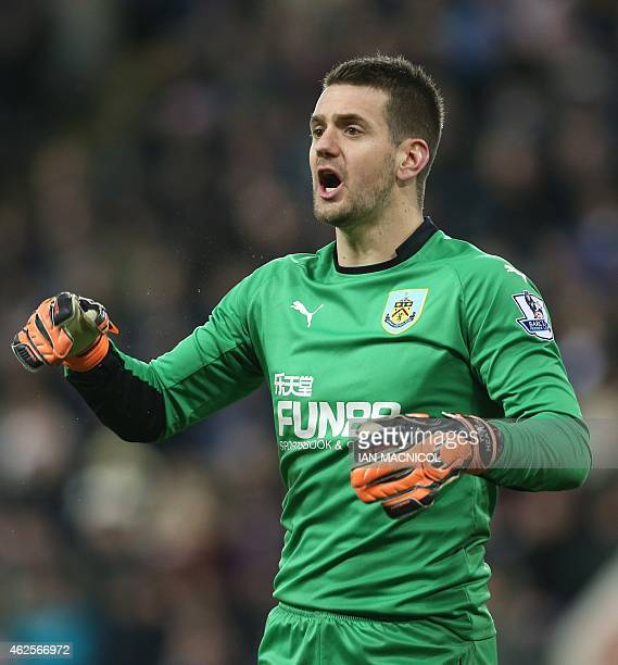 Burnleys English goalkeeper Tom Heaton reacts during the English Premier League football match between Newcastle United and Burnley at St James Park...
