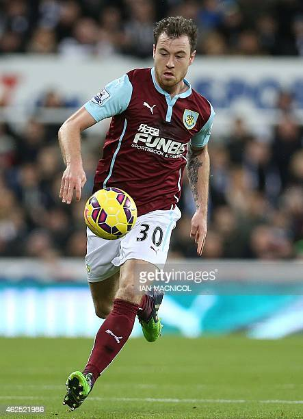 Burnley's English striker Ashley Barnes controls the ball during the English Premier League football match between Newcastle and Burnley at St James...