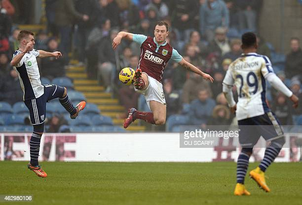Burnley's English striker Ashley Barnes controls the ball during the English Premier League football match between Burnley and West Bromwich Albion...
