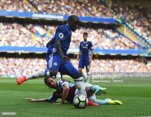 Burnley's George Boyd and Chelsea's NGolo Kante
