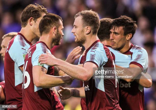 Burnley's Jack Cork celebrates scoring their first goal with a header during the Carabao Cup Second Round match between Blackburn Rovers and Burnley...