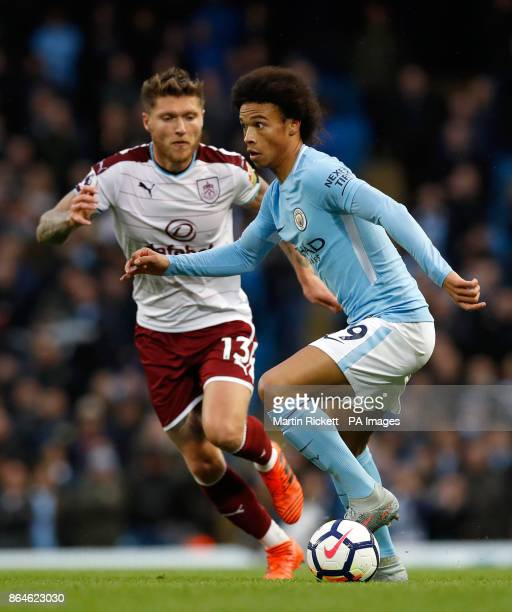 Burnley's Jeff Hendrick and Manchester City's Leroy Sane in action during the Premier League match at the Etihad Stadium Manchester