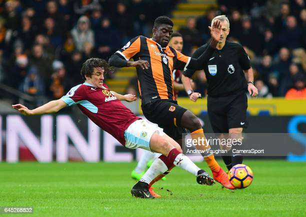 Burnley's Joey Barton vies for possession with Hull City's Alfred N'Diaye during the Premier League match between Hull City and Burnley at KCOM...