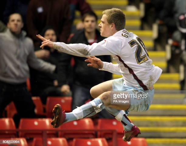 Burnley's John Guidetti celebrates scoring his sides first goal during the npower Championship match at Oakwell Barnsley