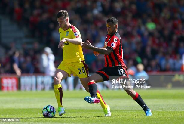 Burnley's Kevin Long and AFC Bournemouth's Joshua King battle for the ball during the Premier League match at the Vitality Stadium Bournemouth
